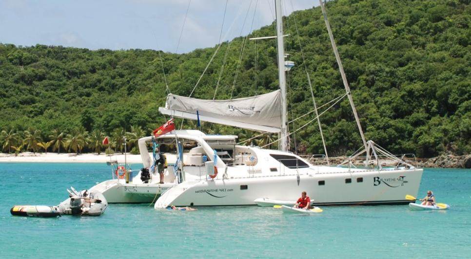 Nigel James Yacht Charter crewed charter catamaran Braveheart in the Caribbean