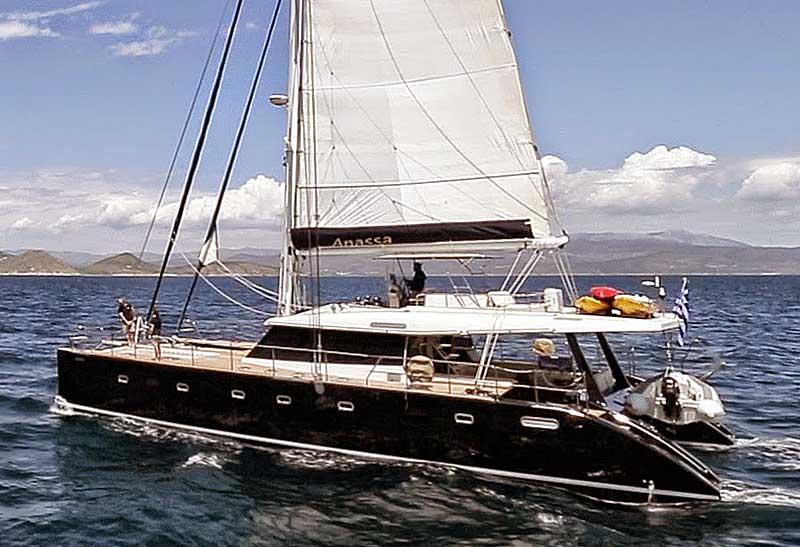 Nigel James Yacht Charter crewed catamaran Anassa in Greece