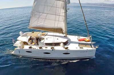 Nigel James Yacht Charter crewed charter catamaran High Jinks in Greece