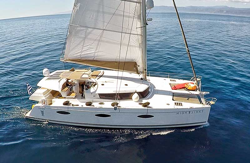 Nigel James Yacht Charter crewed charter catamaran High Jinks in Greece