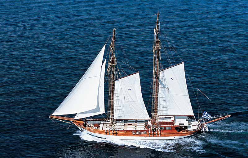 Nigel James Yacht Charter traditional crewed Caique motor sailer Matina in Greece