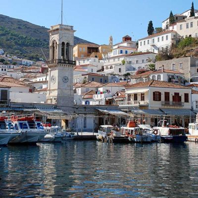 Hydra port in the Saronic Gulf of Greece