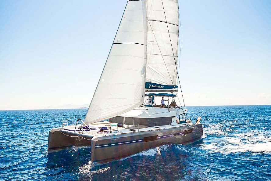 Nigel James Yacht Charter Crewed catamaran Lucky Clover sailing in Greece