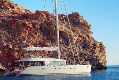 Nigel James Yacht Charter Crewed catamaran Nova in secluded Greek anchorage