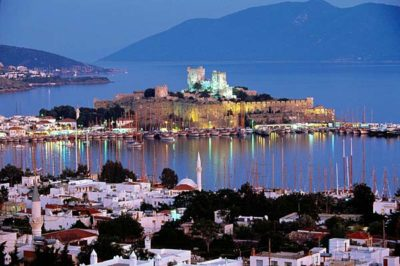 Bodrum castle Turkey at night