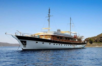 Nigel James Yacht Charter classic crewed motor yacht Halis Temel in the eastern Med