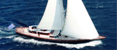 Nigel James Yacht Charter crewed Perini Navi sailing yacht Gitana in Greece