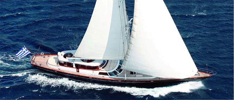 Nigel James Yacht Charter crewed Perini Navi sailing yacht Gitana in Greece