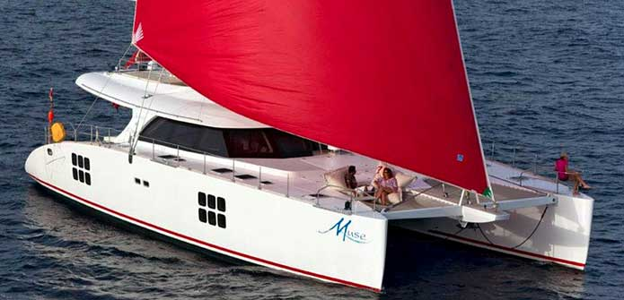 Crewed catamaran Muse in the south of France