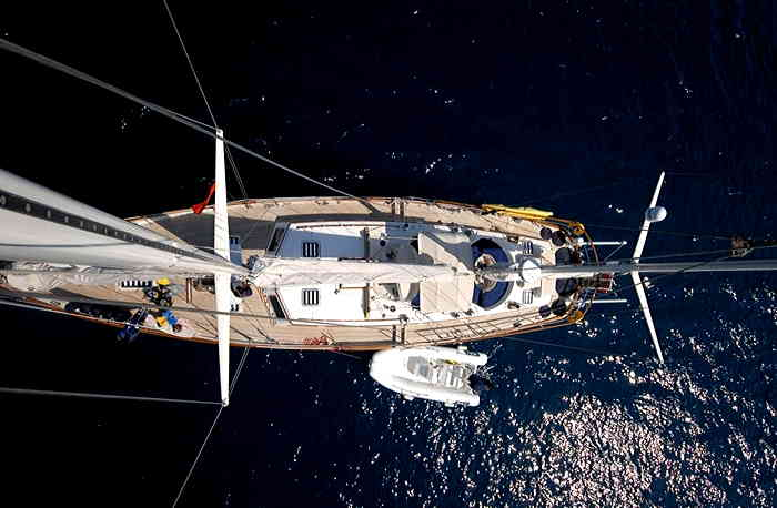 Bird's-eye view of the crewed sailing yacht Morgane