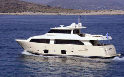 25% off August motor yacht charter rate in Greece